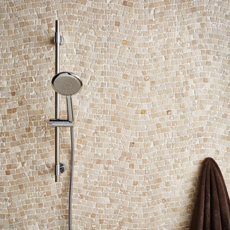mosaïque sol et mur travertin vague beige 2.3 x 2.3 cm | leroy merlin