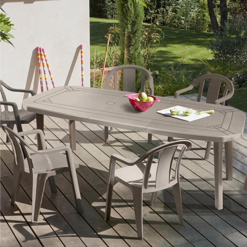 Table de jardin de repas GROSFILLEX Miami rectangulaire taupe 10 personnes