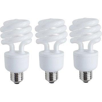 3 ampoules spirales fluorescentes 23W = 1398Lm (équiv 100W) E27 6500K LEXMAN