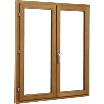 Fenêtre bois 2 vantaux ouvrant à la française H.105 x l.100 cm