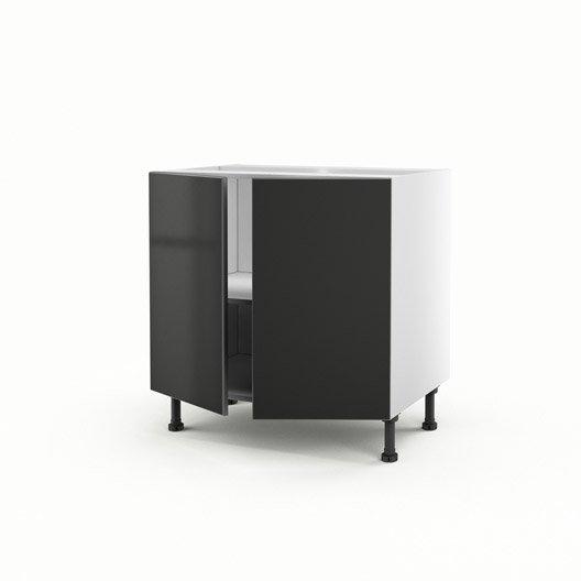 Meuble de cuisine bas gris 2 portes frost x x p for Meuble bas cuisine largeur 35 cm