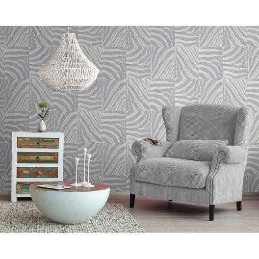 papier peint intiss peau de z bre gris leroy merlin. Black Bedroom Furniture Sets. Home Design Ideas