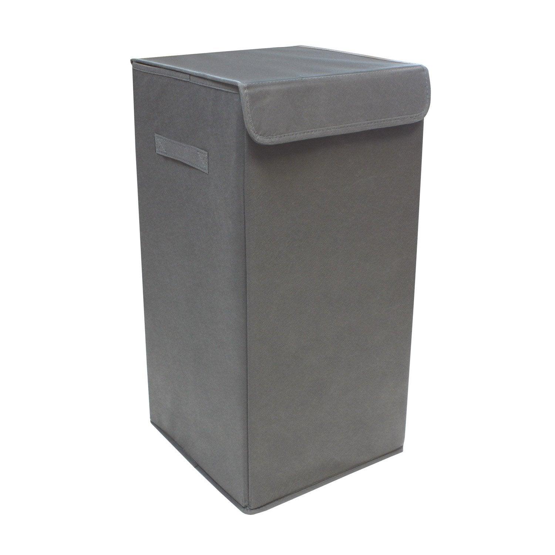 Panier à linge textile Pliable, gris, l.30 x H.55 x P.30 cm
