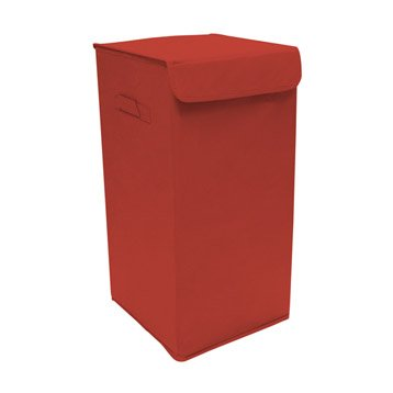 Panier à linge textile Pliable, rouge, l.30 x H.55 x P.30 cm