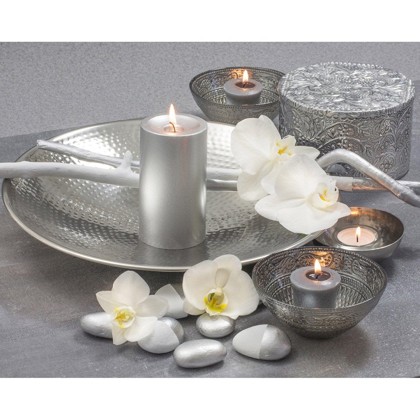 toile led bougies et coupelles silver x cm. Black Bedroom Furniture Sets. Home Design Ideas