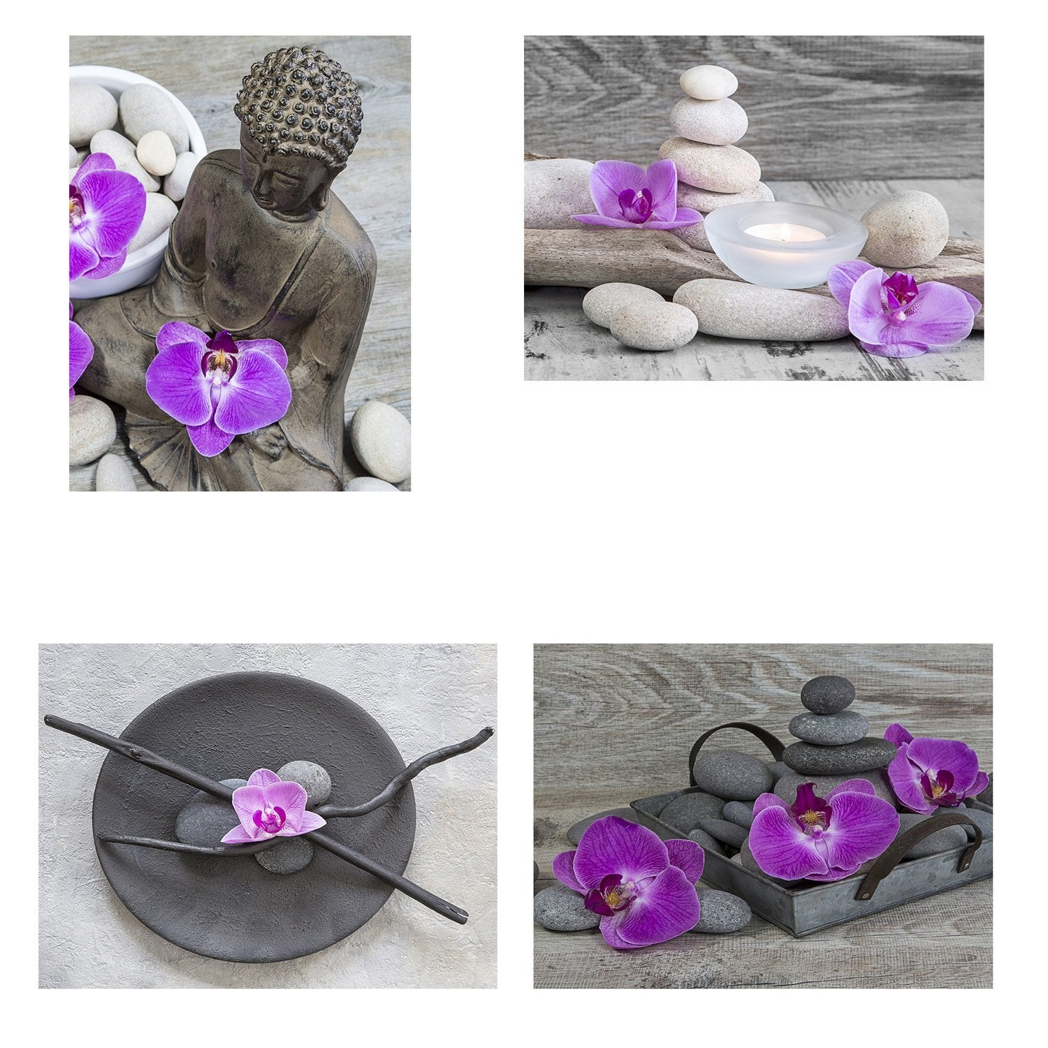Set de 4 images Orchidees l.40 x H.50 cm