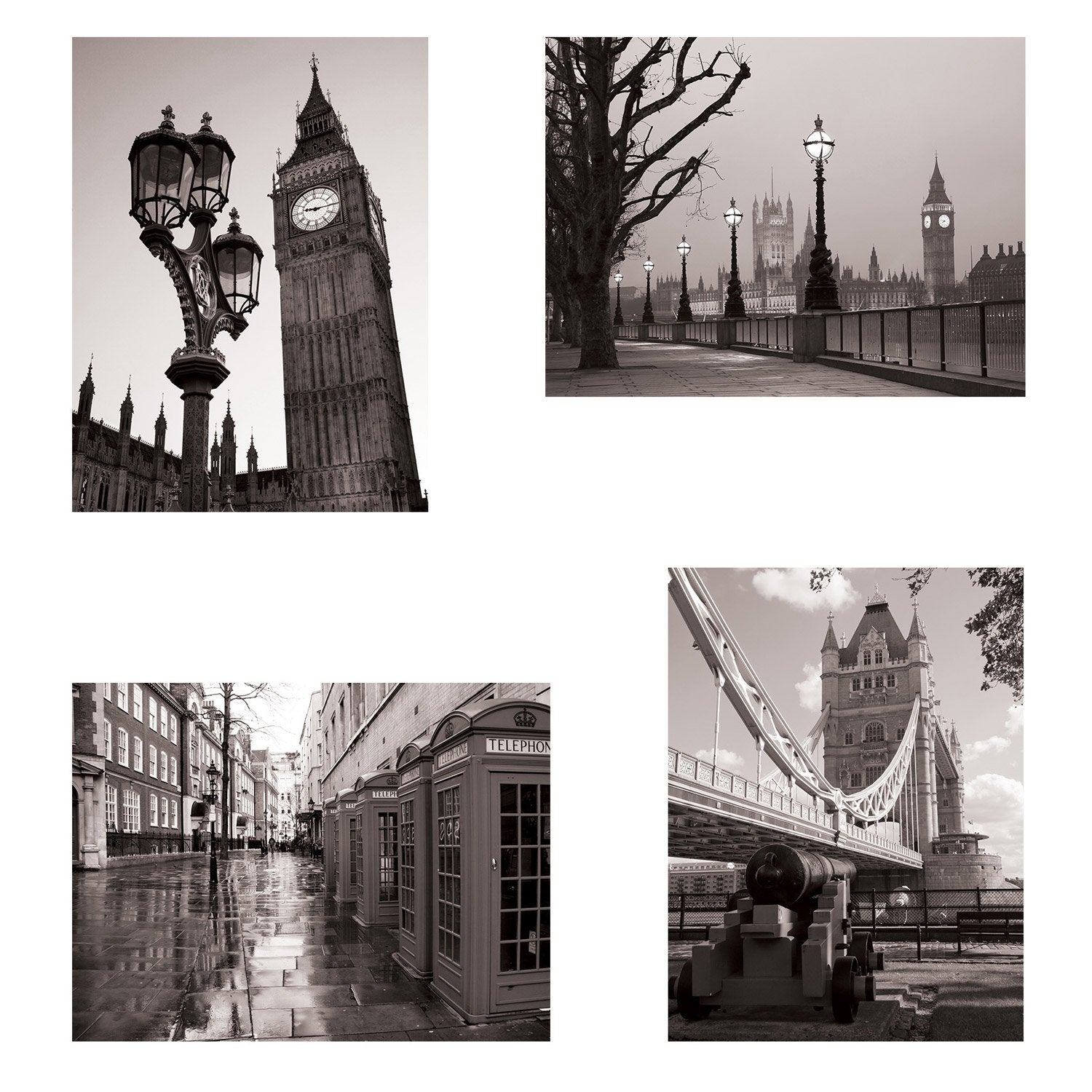 Set de 4 images Londres l.30 x H.40 cm