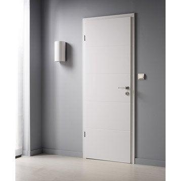 Porte sans bâti  laquée blanc Naples, H.204 x l.83 cm poussant droit
