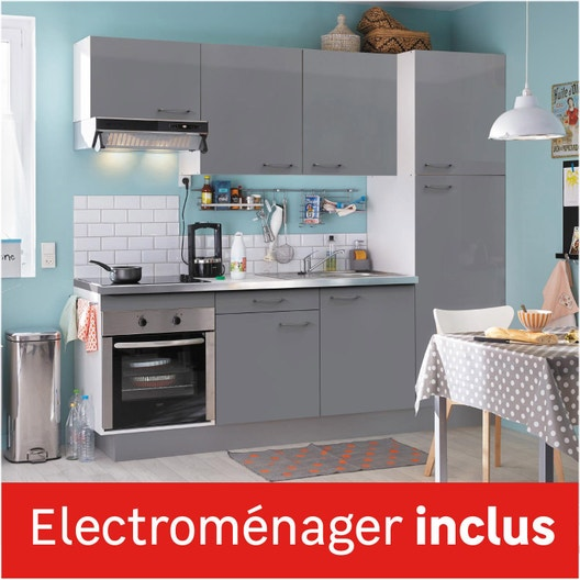 cuisine quip e gris brillant cm lectrom nager inclus leroy merlin. Black Bedroom Furniture Sets. Home Design Ideas