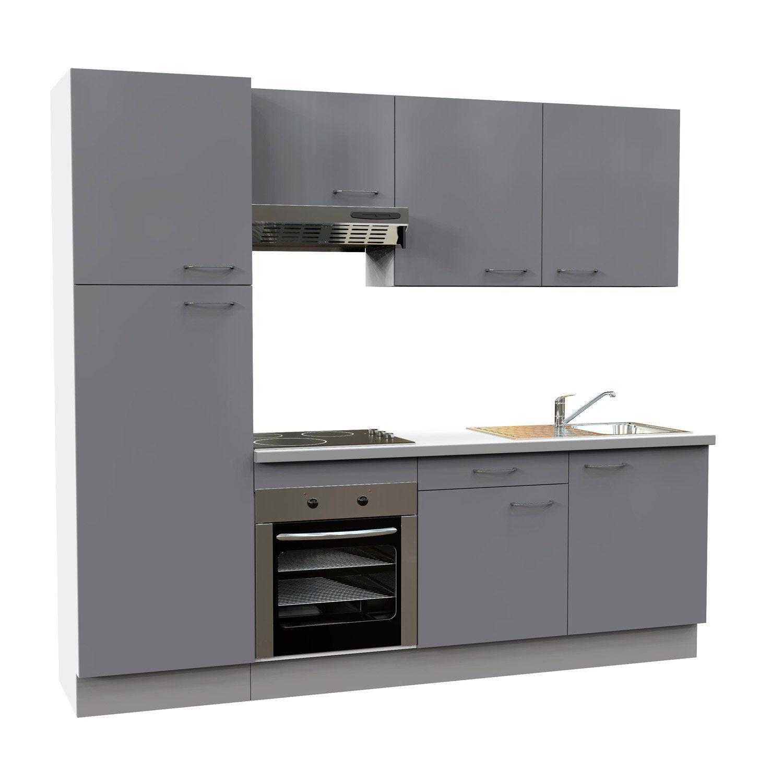 cuisine quip e gris brillant cm lectrom nager inclus leroy merlin. Black Bedroom Furniture Sets. Home Design Ideas