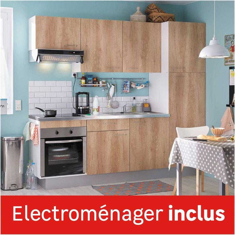 Cuisine Equipee Imitation Chene Clair L 240 Cm Electromenager