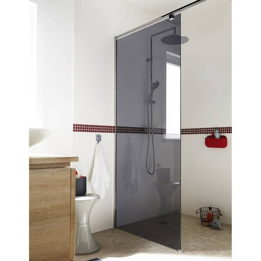 paroi de douche l 39 italienne cm verre fum 8 mm eliseo leroy merlin. Black Bedroom Furniture Sets. Home Design Ideas