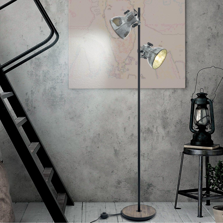 Lampadaire droit, industriel acier métal/marron, EGLO Barnstaple