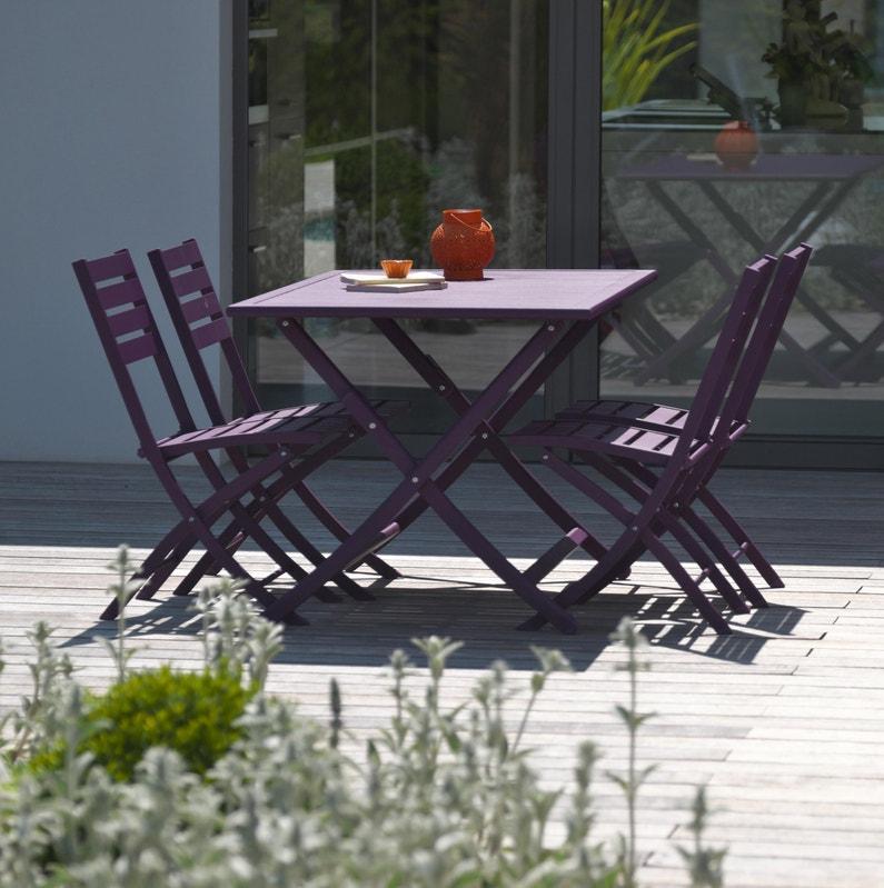 Table de jardin de repas Marius rectangulaire aubergine 4/6 personnes
