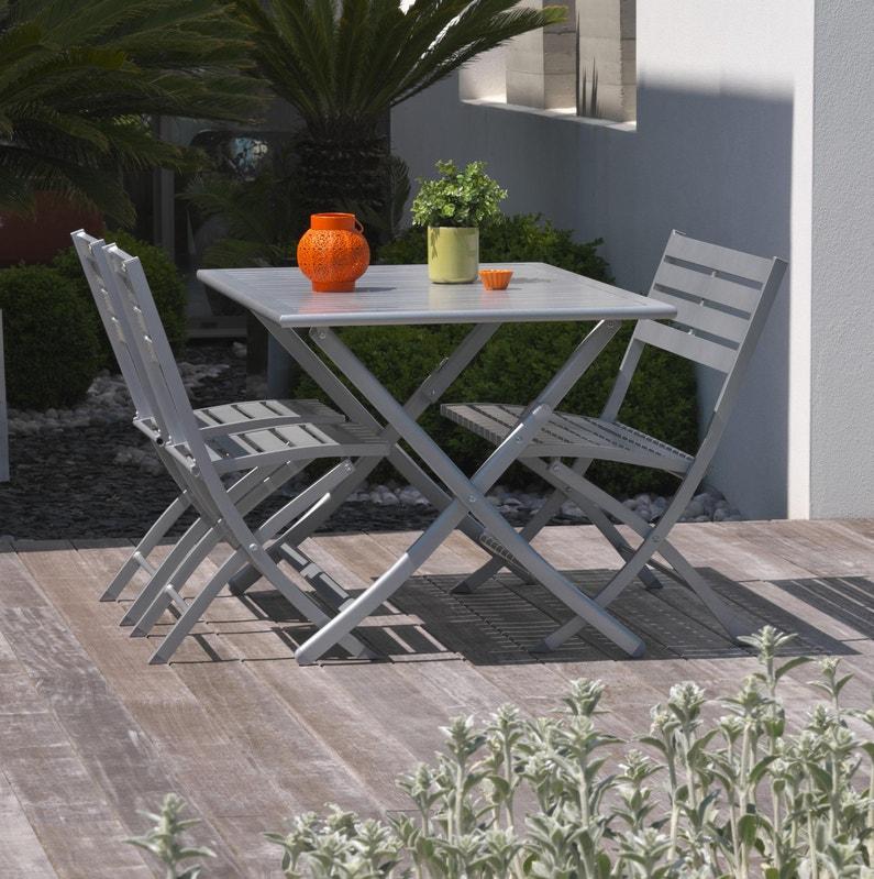 Table de jardin de repas Marius rectangulaire gris métal 4/6 personnes