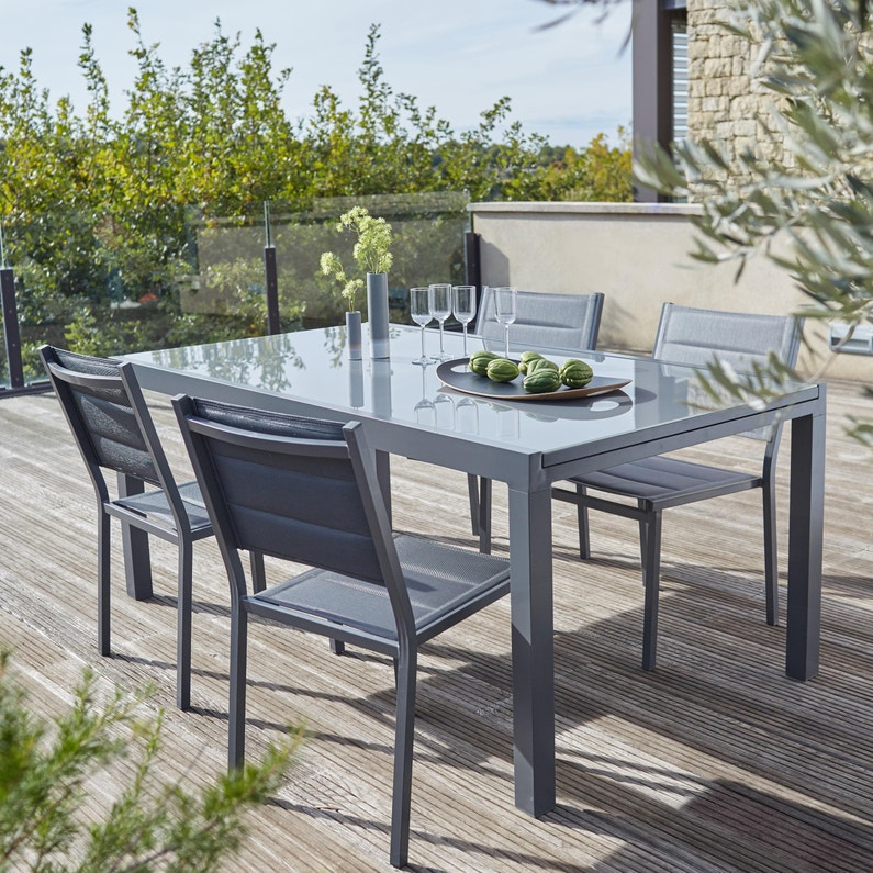 Table de jardin de repas NATERIAL Lisboa rectangulaire gris de 6 à 8  personnes