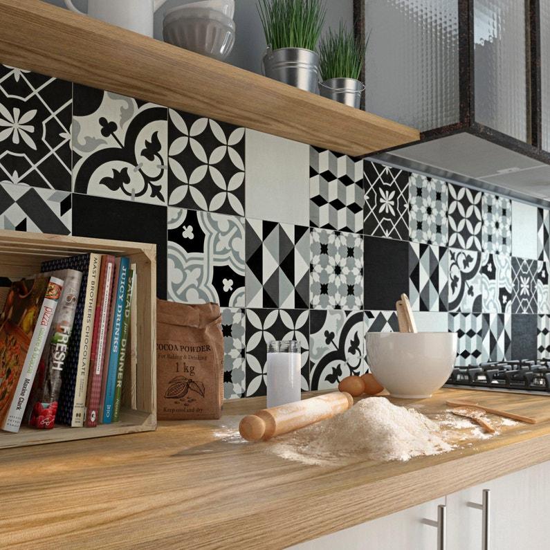 Carreau De Ciment Mur Forte Uni Gris Noir Blanc Mat L 20xl 20cm