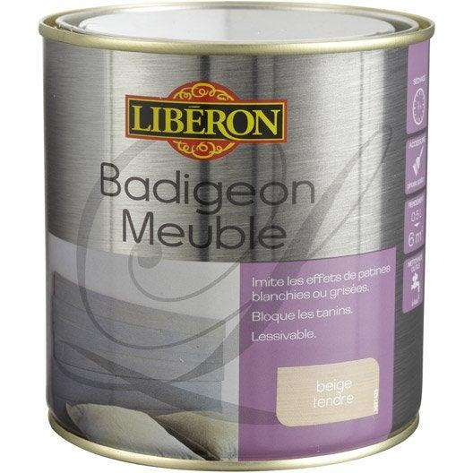 Lasure mat liberon badigeon meuble beige tendre 0 5 l leroy merlin for Peinture liberon meuble