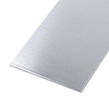 Tôle lisse aluminium brut, L.50 x l.25 cm x Ep.1.5 mm
