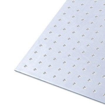 Tôle perforée aluminium brut, L.100 x l.20 cm x Ep.1.5 mm