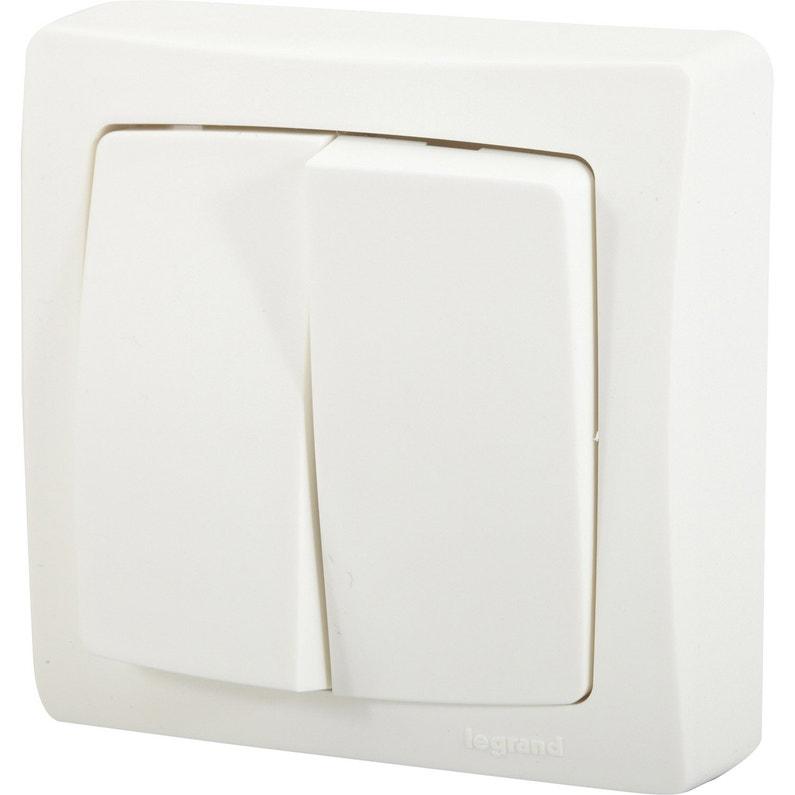 Double Interrupteur Va Et Vient Saillie Legrand Asl Blanc