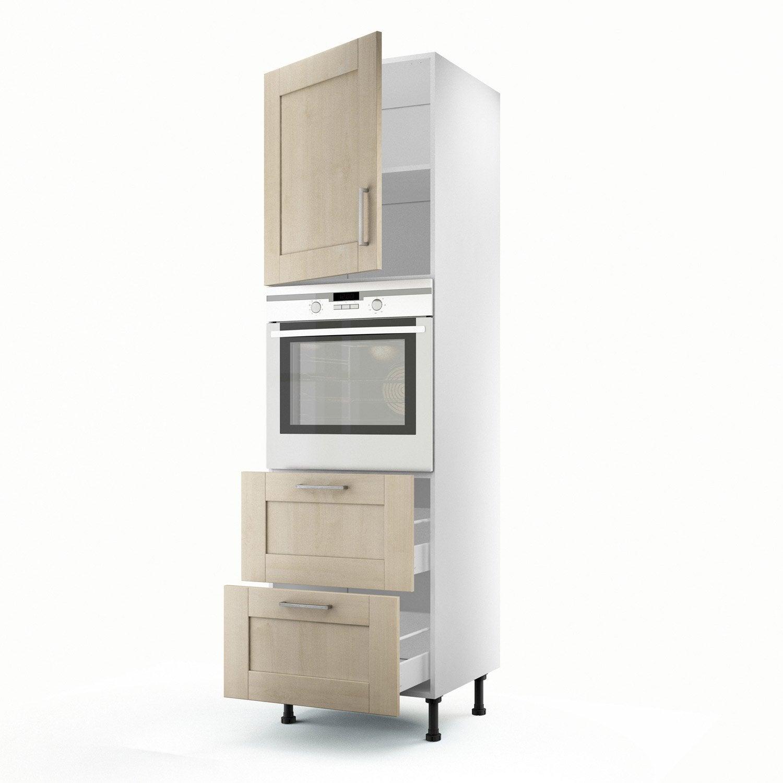 meuble de cuisine colonne blanc 1 porte 2 tiroirs ines x x cm leroy merlin. Black Bedroom Furniture Sets. Home Design Ideas