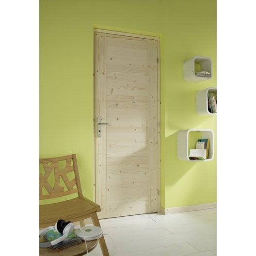 Bloc porte sapin horizon artens x cm poussant for Porte interieure vitree 83 cm