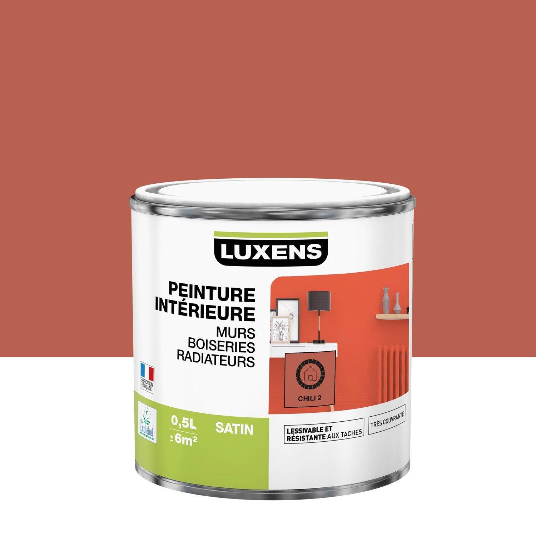 Peinture mur, boiserie, radiateur Multisupports LUXENS, chili 2, 0.5 l, satin