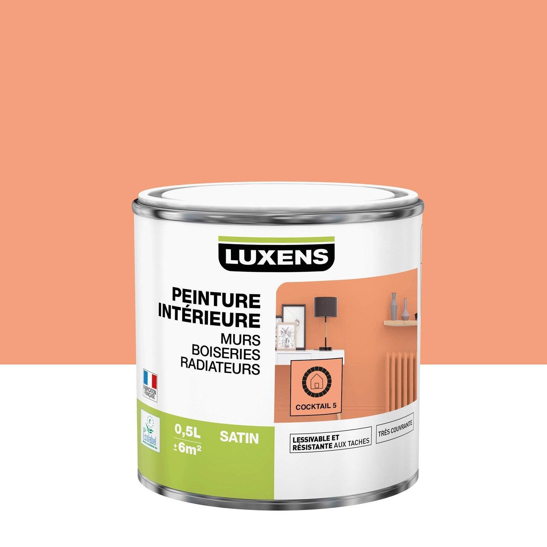 Peinture mur, boiserie, radiateur Multisupports LUXENS, cocktail 5, 0.5 l, satin