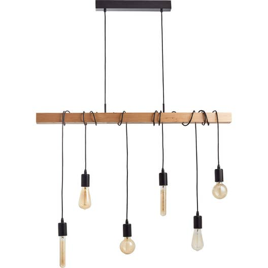 Suspension e27 style industriel townshend bois h tre 6 x for Suspension luminaire filaire