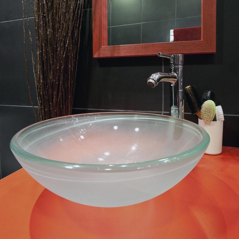 Vasque à poser verre Diam.39.5 cm transparent Luna | Leroy Merlin