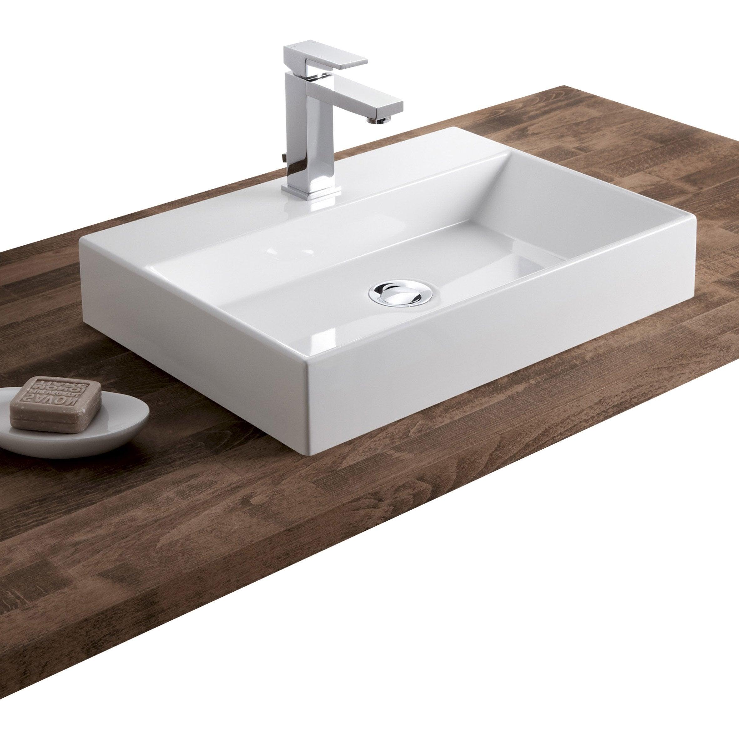 vasque en gres Vasque à poser résine de synthèse l.50 x P.36 cm blanc Solo ...