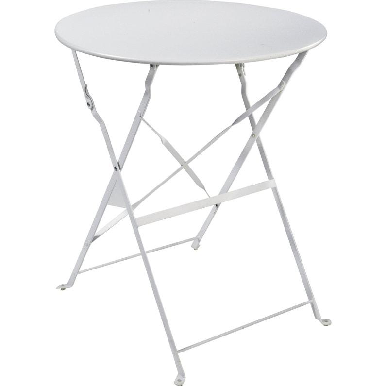 Table de jardin de repas Flore ronde blanc 4 personnes