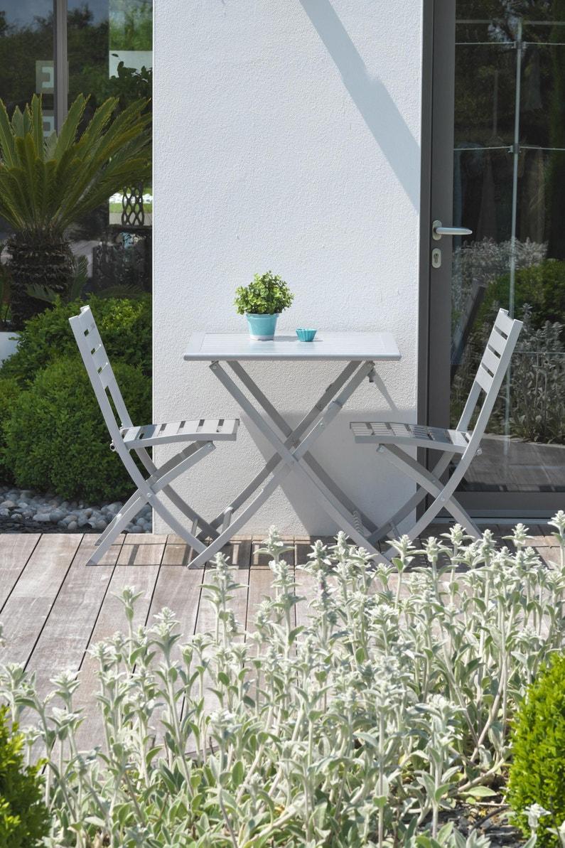 Table de jardin de repas Marius carrée gris métal 2 personnes