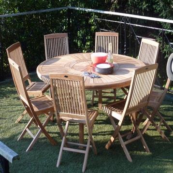 Table de jardin de repas Orion ronde naturel 8 personnes ...