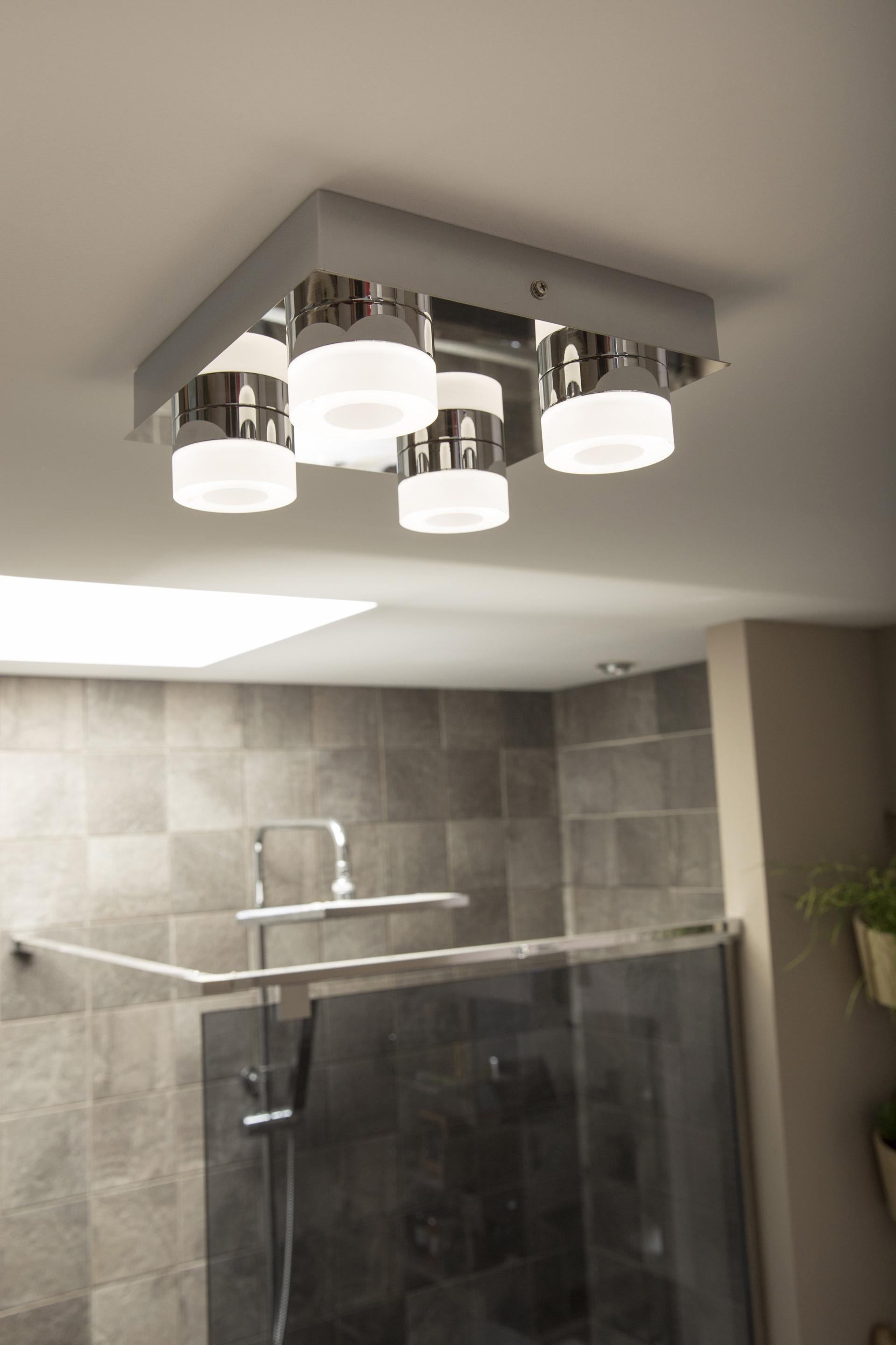Plafonnier 4 spots, design aluminium gris led intégrée INSPIRE