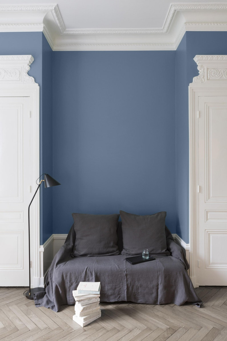 Comment Faire Des Rayures En Peinture Sur Un Mur peinture mur, boiserie, radiateur liberon bleu de nîmes velours 2.5 l