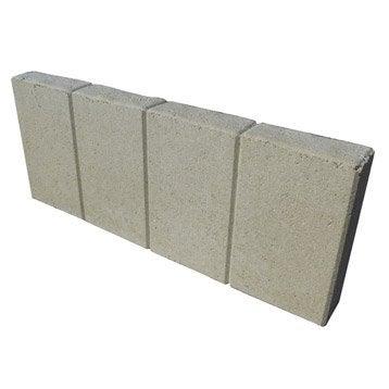 Bordure droite Quadra béton ton pierre, H.20 x L.50 cm