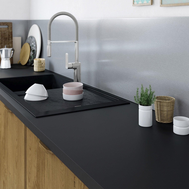 cr dence stratifi effet alu bross cm x cm leroy merlin. Black Bedroom Furniture Sets. Home Design Ideas