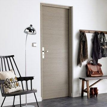 Porte sans bâti mdf revêtu décor chêne fumé gris Londres 204x73 poussant gauche