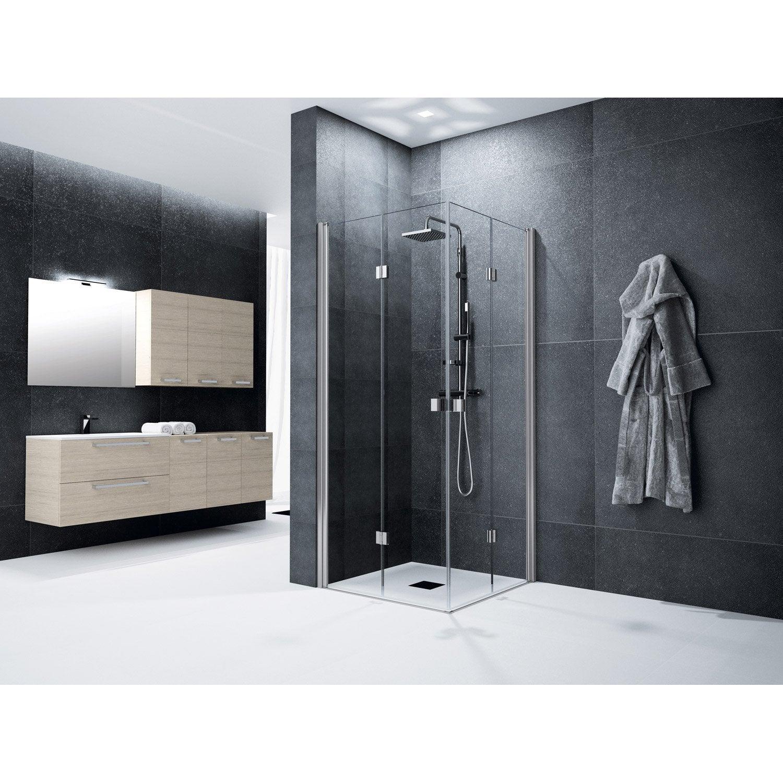 Porte de douche pivot pliante angle carr 120 x 120 cm transparent neo leroy merlin - Porte de douche 120 ...