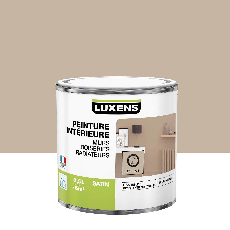 Peinture, mur, boiserie, radiateur, Multisupports LUXENS, terra 5, satiné, 0.5 l