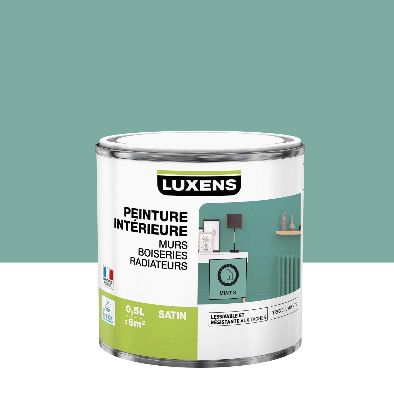 Peinture mur, boiserie, radiateur Multisupports LUXENS, mint 3, 0.5 l, satin