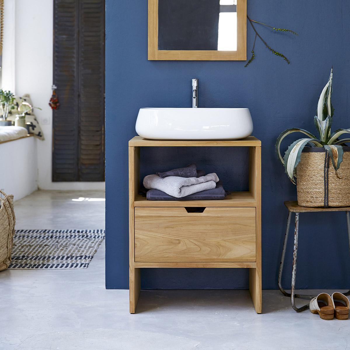 Vasque à poser céramique l.56 x P.42 cm blanc Carole