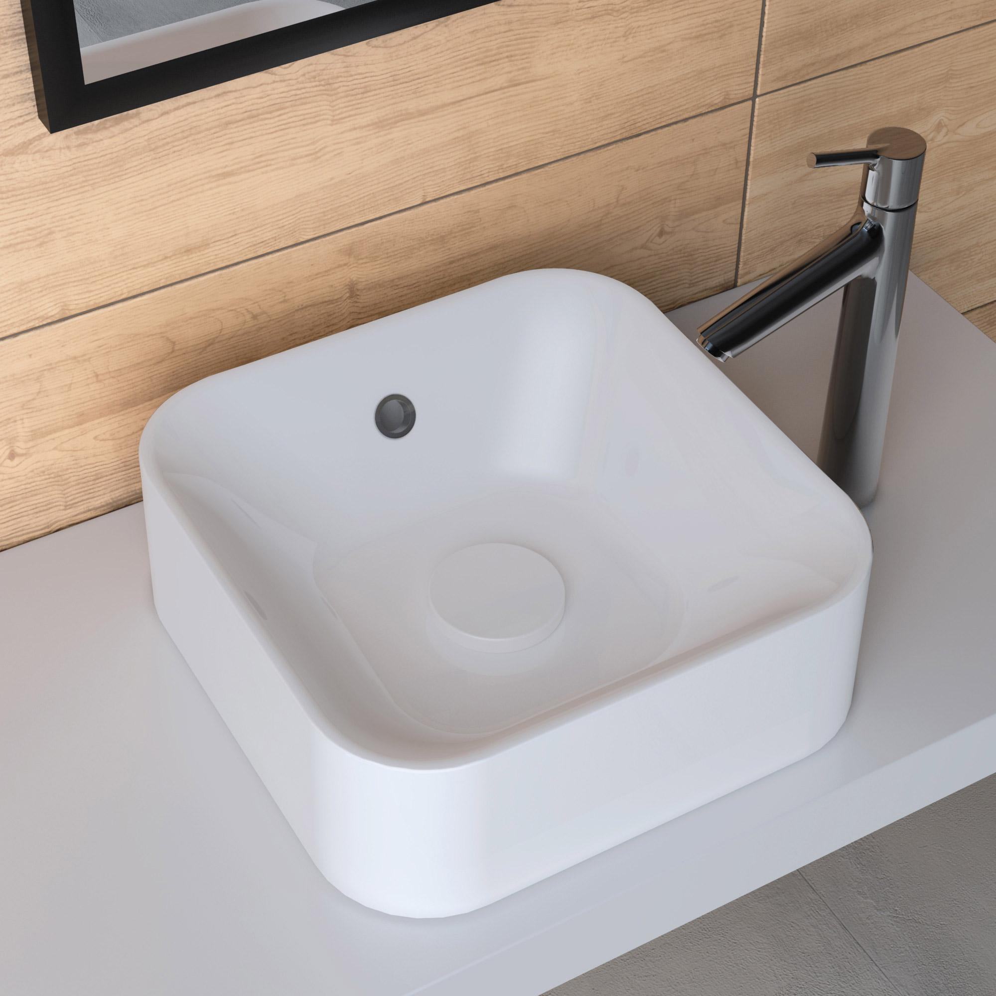 Vasque à poser carré résine l.38 x P.38 cm  blanc Capsule