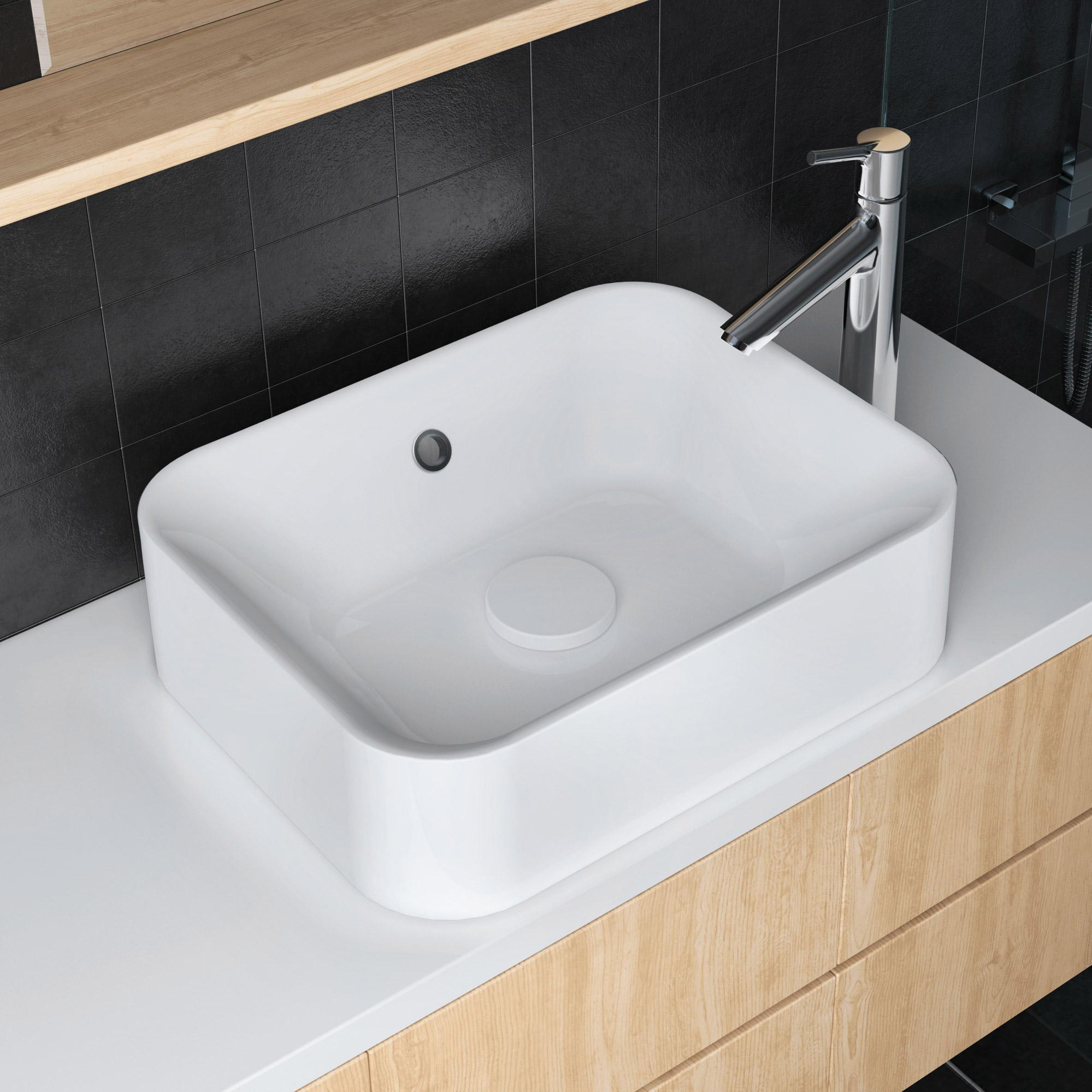 Vasque à poser polyrésine l.48 x P.38 cm Diam.48 cm blanc Capsule