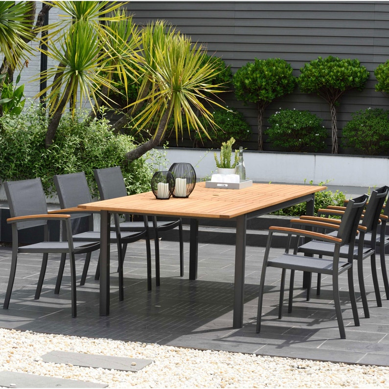 Table de jardin de repas Kingsburry rectangulaire naturel et gris 6/8  personnes