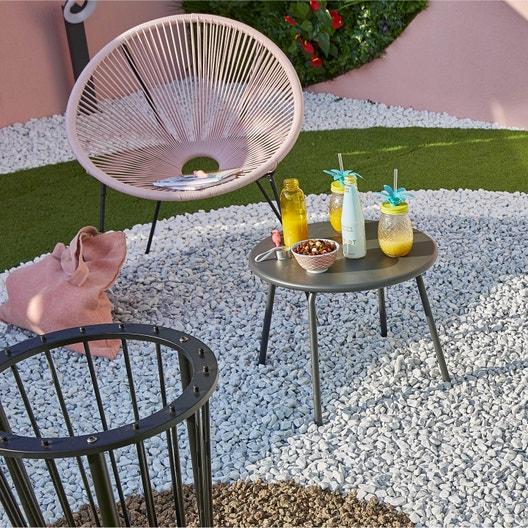 Table de jardin basse Sun ronde gris 2 personnes