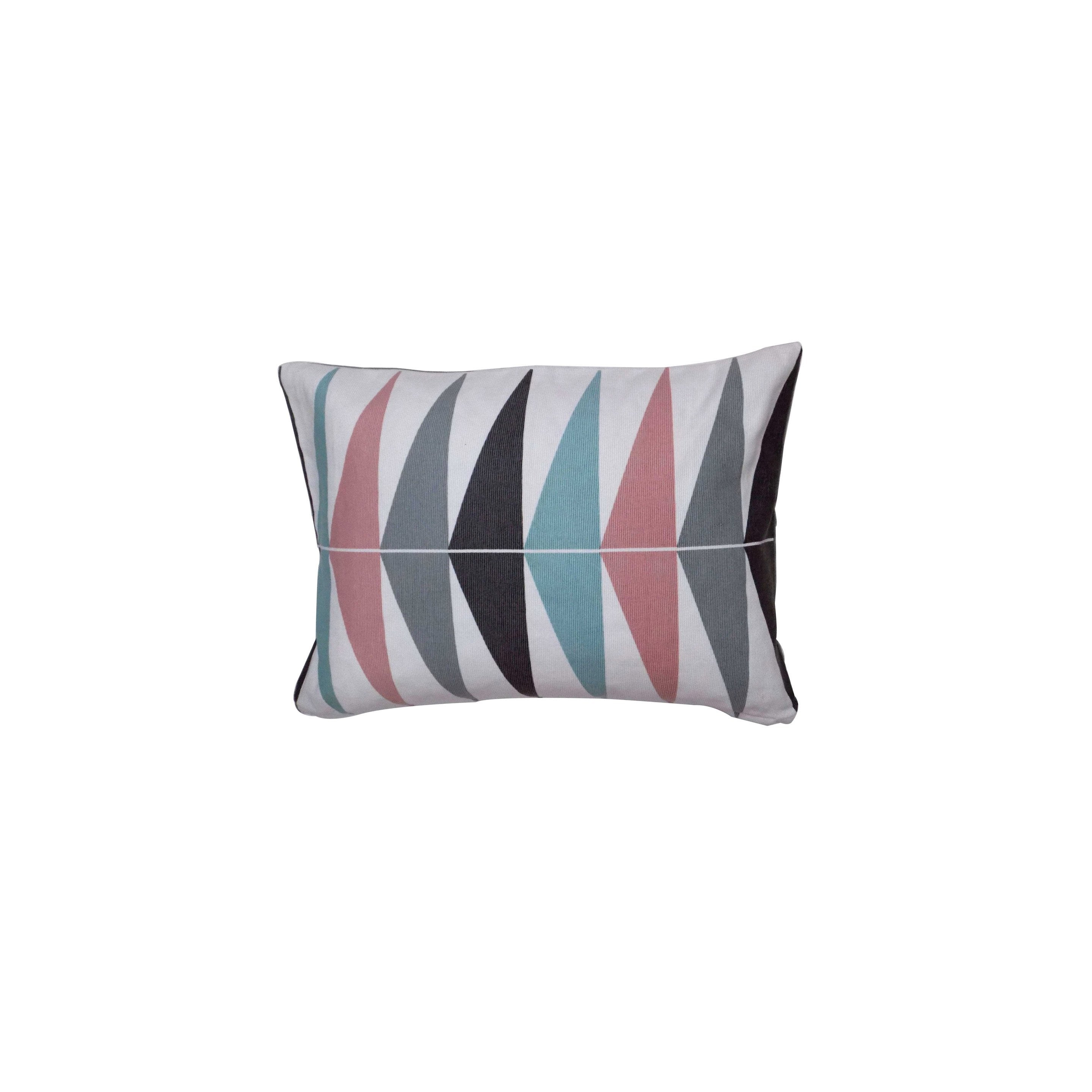 Coussin Triangles, blanc / gris / rose l.50 x H.35 cm