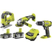 Perceuse sans fil RYOBI Combo kit 3 outils one+, 18 V 1.5 Ah, 2 batteries